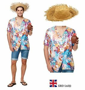 Image is loading MENS-HAWAIIAN-FANCY-DRESS-COSTUME-Party-Guy-Shirt-  sc 1 st  eBay & MENS HAWAIIAN FANCY DRESS COSTUME Party Guy Shirt Straw Hat Men Luau ...