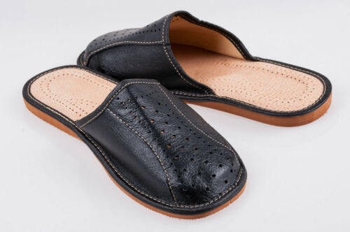 Men`s Leather Slippers 100/%Black Natural Leather size:UK 6,7,8,9,10,11,12