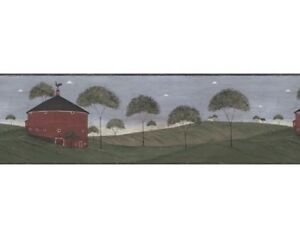 Details About Warren Kimble Country Wallpaper Border Ap75682 Round Barn Norwall 3a New