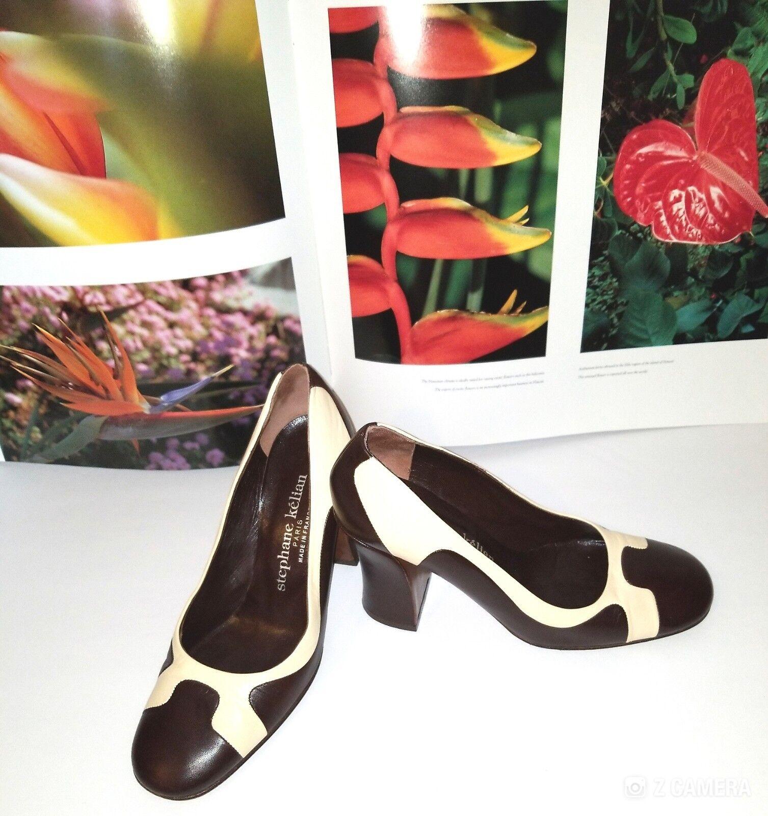 Stephane Kelian Brown Heeled & Cream Leather Chunky Heeled Brown Shoes Size 7.5 d23739
