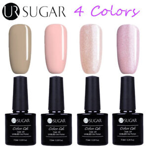 4Bottles-Set-7-5ML-UV-LED-Nail-Gel-Polish-Soak-Off-Nude-Varnish-DIY-Kit-UR-Sugar