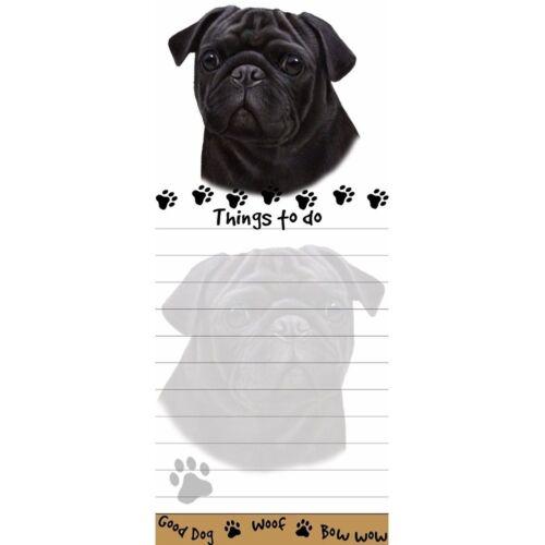 PUG BLACK DOG DIECUT LIST PAD NOTES NOTEPAD Magnetic Magnet Refrigerator