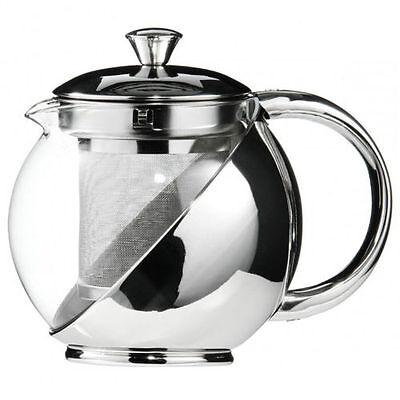 Modern Stylish Stainless Steel & Glass Teapot & LOOSE TEA LEAF INFUSER TEA POT
