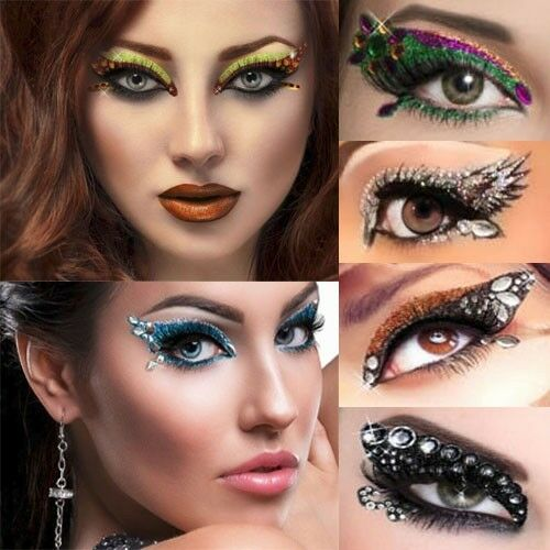 Reusable Self Adhesive Xotic Eye Makeup Art Crystal Gems Costume Burlesque Kits