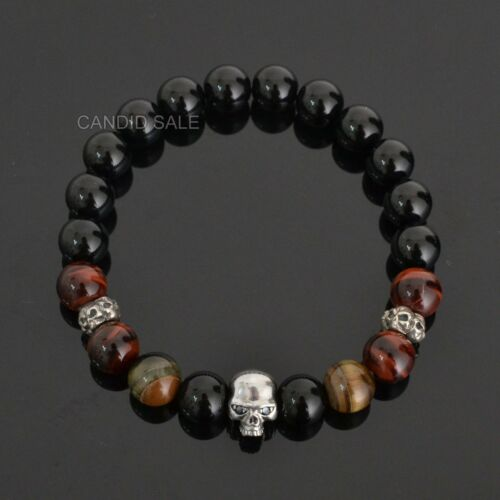 Black Eye Skull 925 Sterling Silver ONYX & Tiger's eye Gemstone Mens Bracelet