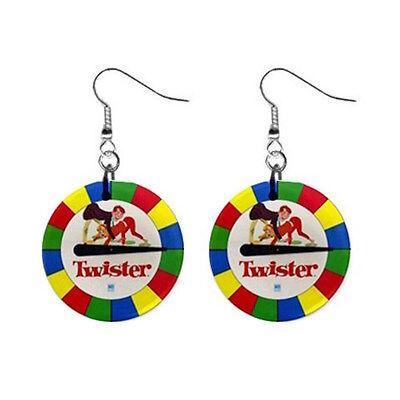 Twister game retro style board game fun Button Earrings 100% FREE S&H Worldwide