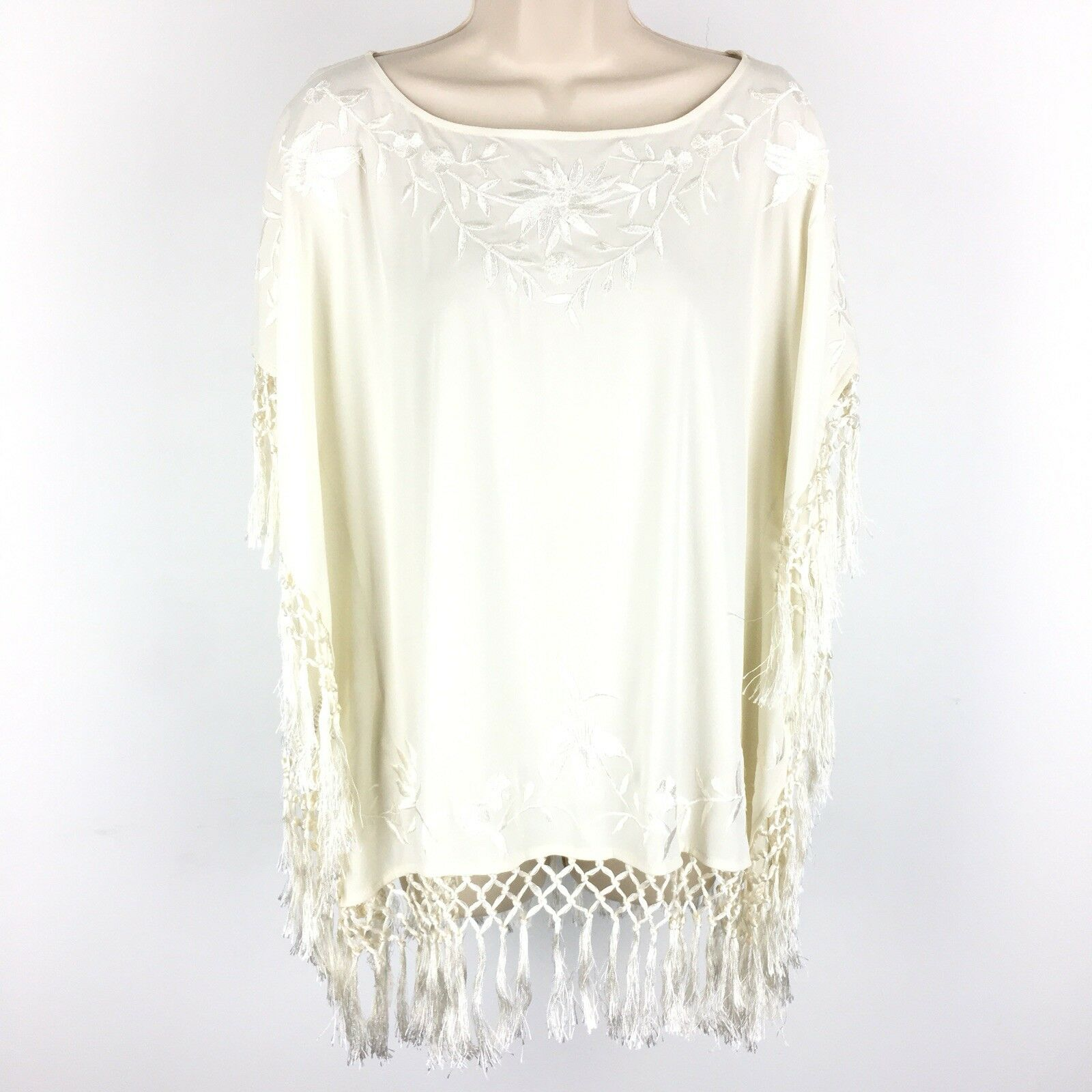 French Connection Square Raquel Top Blouse Small 4 Cream Embroiderot Fringe