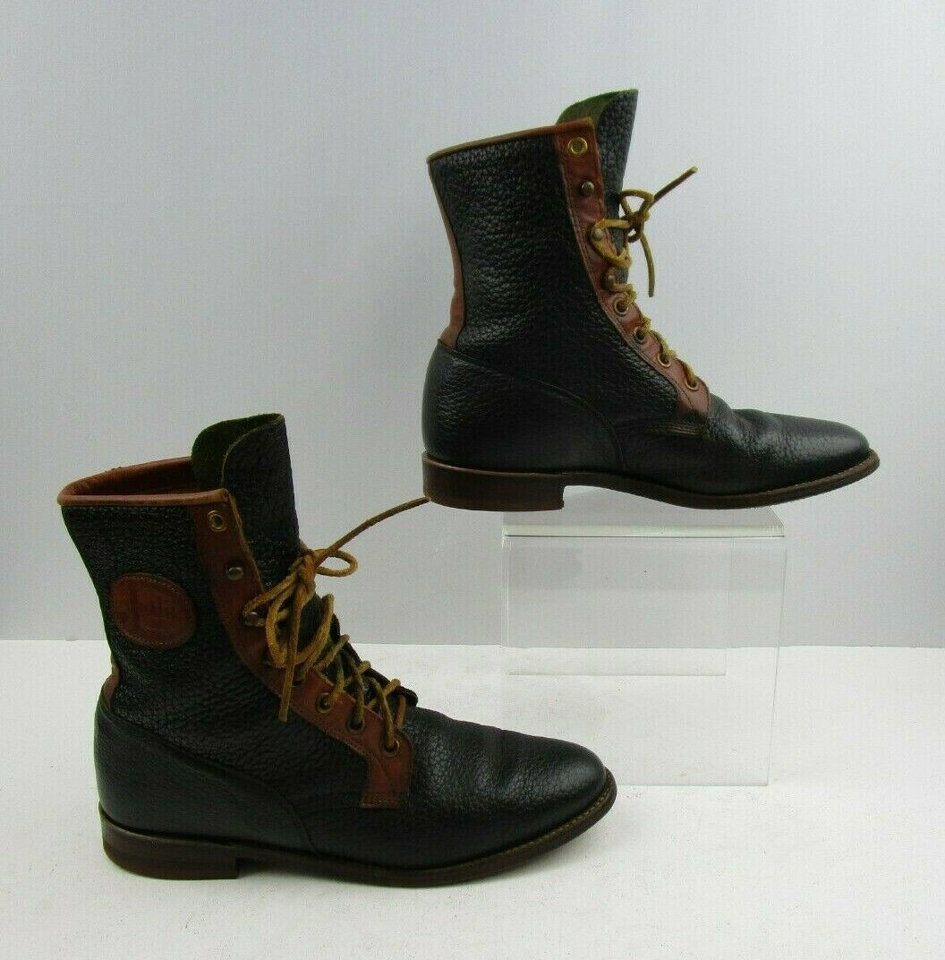 Ladies Justin Brown   Navy bluee Leather Roper Lace Up Boots Size  6.5 B