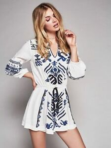 edc637592add $168 Free People Anouk Ivory Combo Blue Embroidered Mini Dress Tunic ...