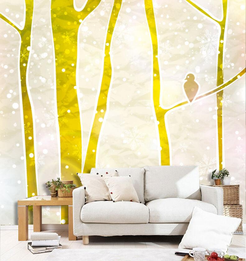 3D Abstract Tree Yellow Bird Wall Paper Wall Print Decal Wall AJ WALLPAPER CA