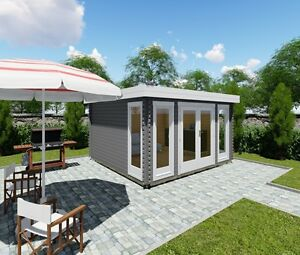 flachdach gartenhaus aus holz modern 40mm 40mm blockhaus melle 40205 ebay. Black Bedroom Furniture Sets. Home Design Ideas