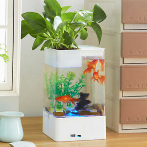 Led Tank Plants With Aquarium Goldfish Détails Small Desktop Kids Fish Sur Bowl Hc CxBdroe