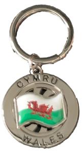 Wales-Cymru-Flag-St-Davids-Chrome-Plated-Spinning-Key-Ring-Souvenir