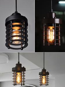 Vintage-Industrial-Cage-Lumiere-Pendentif-loft-plafond-suspendue-abat-jour-en-metal-leger-NEUF