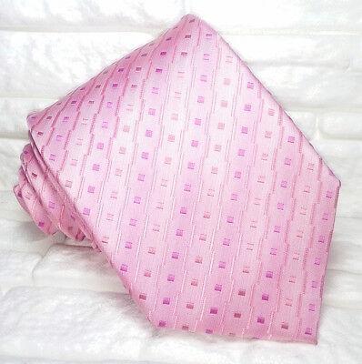 Cravatta Uomo Geometrica Rosa Jacquard Seta Made In Italy Business / Matrimoni Modelli Alla Moda