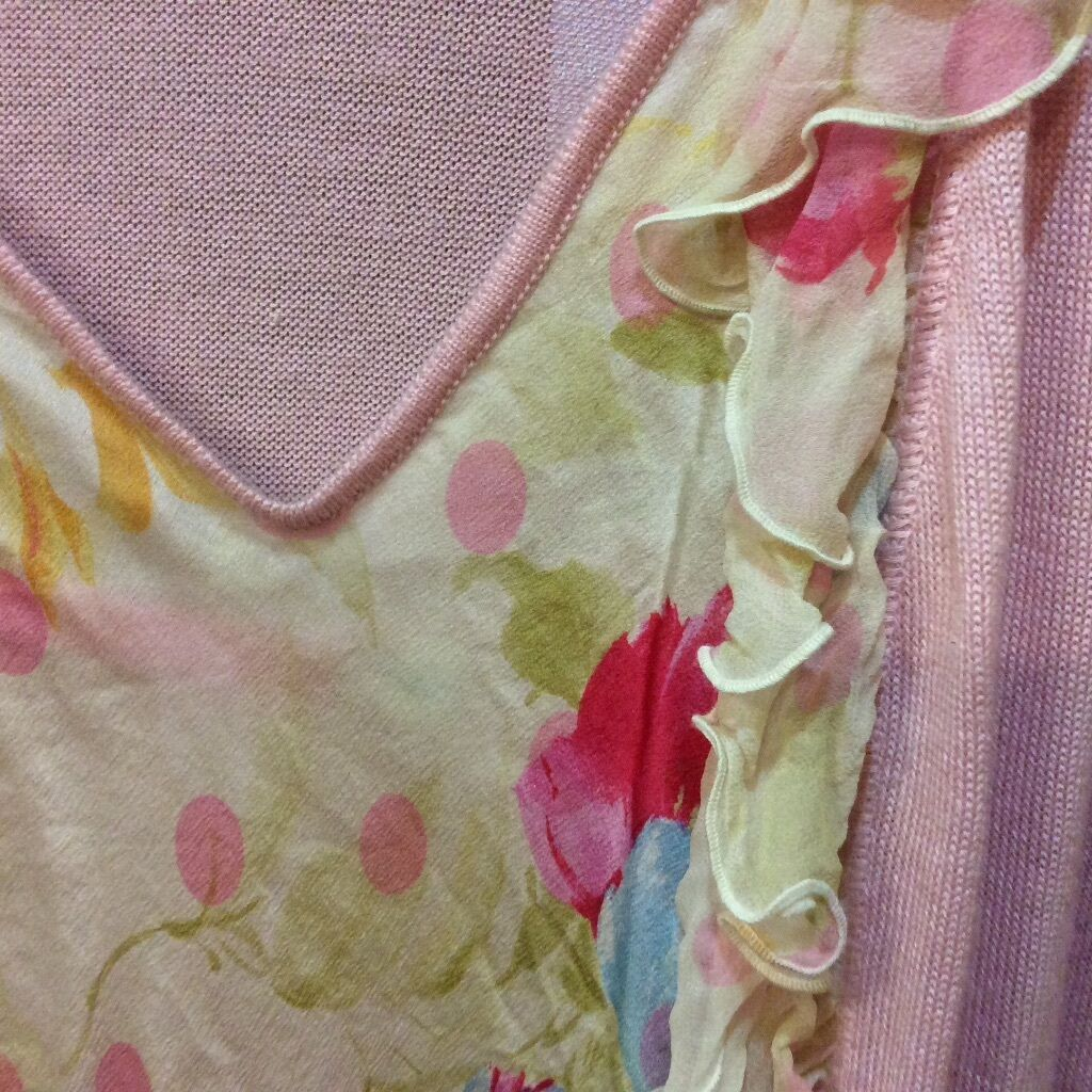 Cashmere silk ruffle sweater set made in italy pink