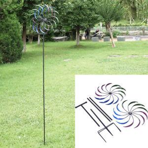 "79"" Metal Double Spiral Wind Spinner Yard Stake Lawn Art Garden Decor 657228412667"