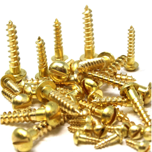 #12 Round Head Slotted Drive Wood Screws Solid Brass All Lengths In Listing