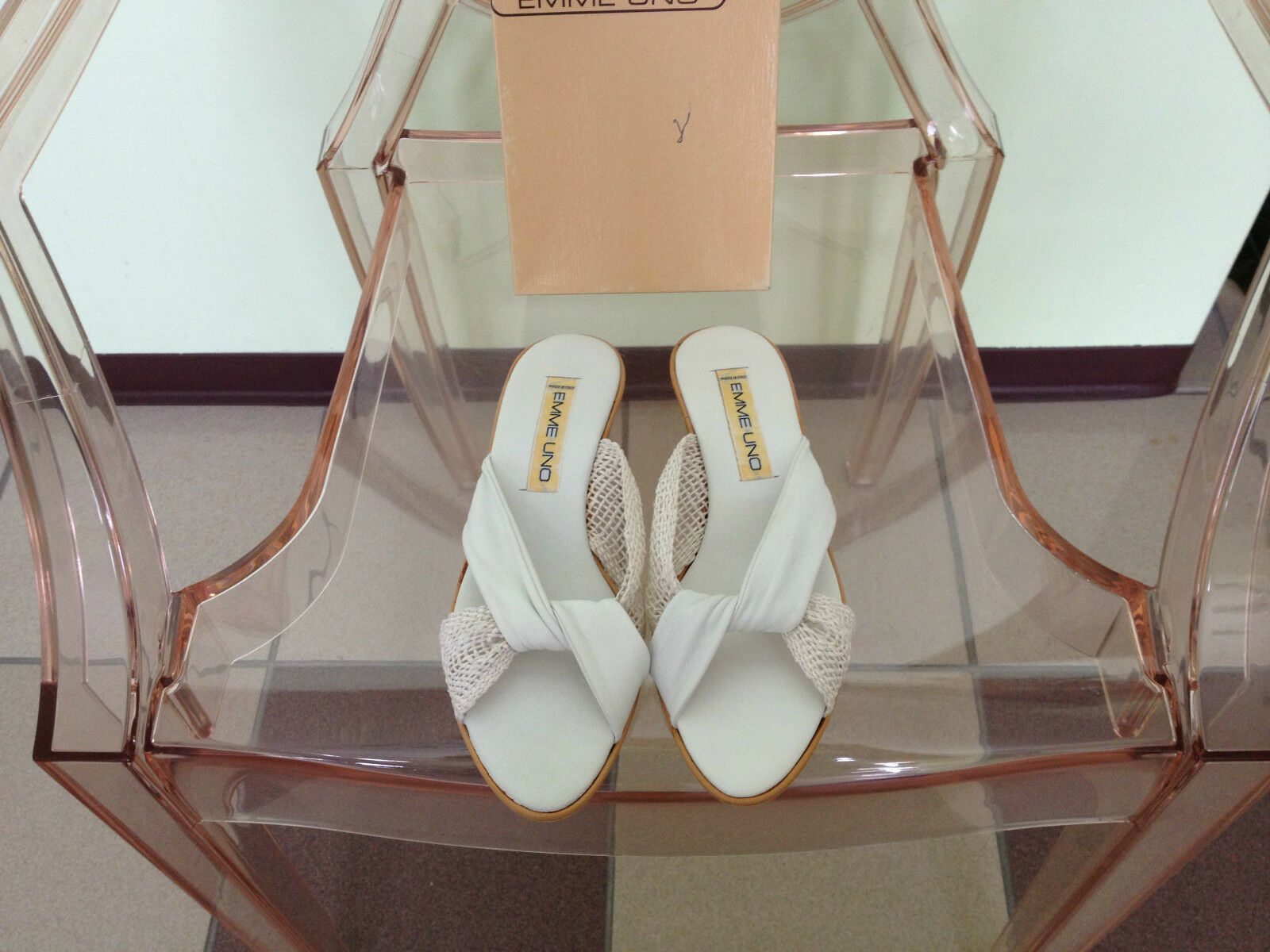 New Women's Emme Uno White Leather 1.5  Sandal Slide Cork Wedges Size 8M