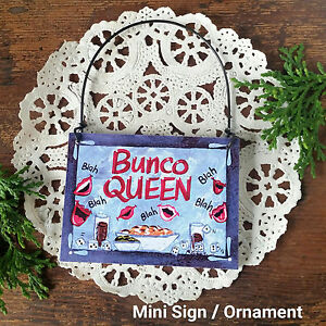 DECO-Mini-Sign-Wood-Ornament-BUNCO-QUEEN-SIGN-Gift-Party-Favor-Made-in-USA-NEW