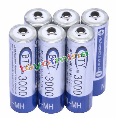 6x AA 3000mAh 1.2 V Ni-MH rechargeable battery for MP3 RC Toys Camera