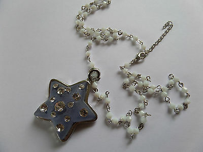 FROSTED BLUE & SILVER STAR DIAMANTE NECKLACE WITH WHITE BEAD CHAIN new