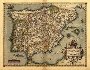 Map Of Spain Old.Details About Large A1 Iberia Spain Portugal Majorca Menorca Ibiza Old Spanish Antique New Map