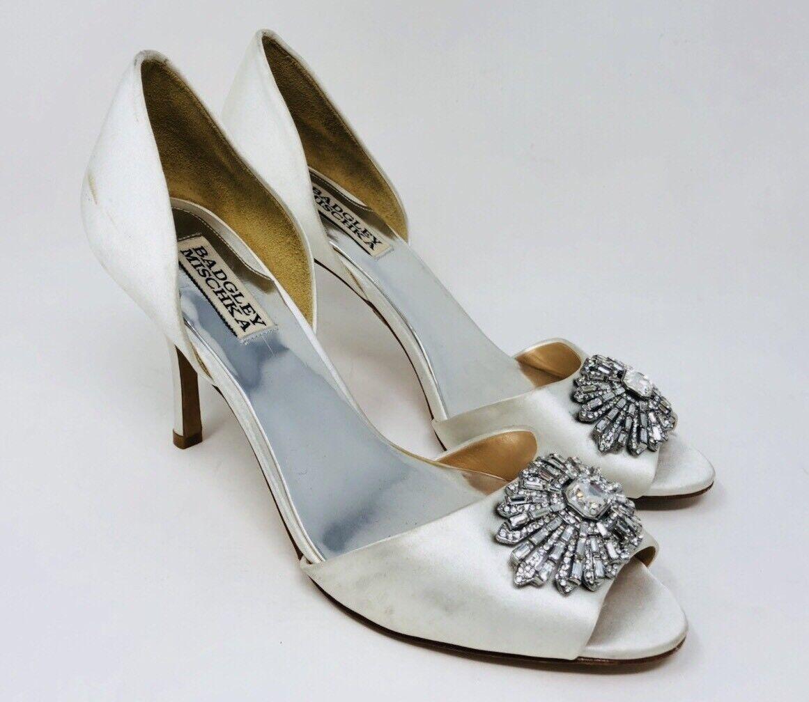 Badgley Mischka Women's Peep Toe Dress Pumps Size 7.5  Ivory Satin