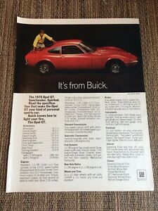 Details About Vintage 1970 Buick Opel Gt General Motors Print Ad Is 730