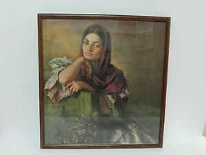 Antique-Picture-Lithography-Womens-Ladies-of-The-Age-Framed-amp-Crystal-Protector
