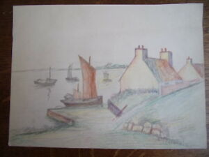 2 Dessins Au Crayon. Marine, Port & Bateaux, Bouquet De Fleurs Circa 1940