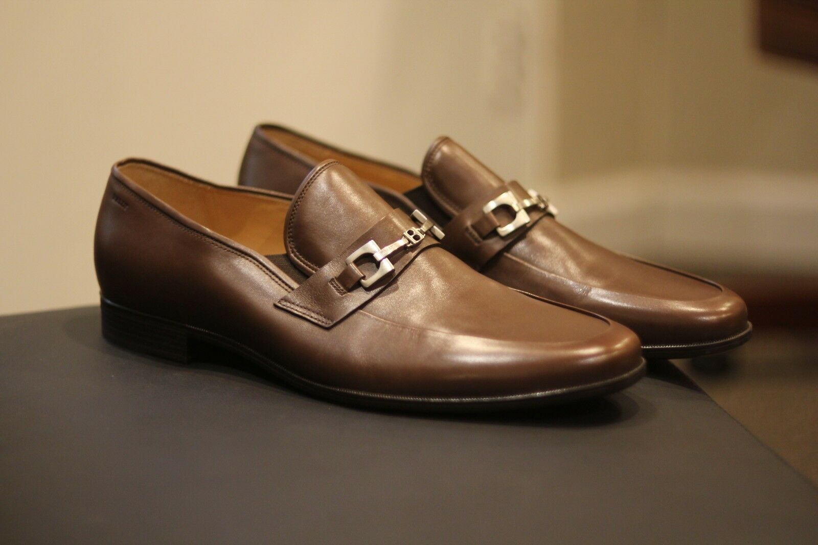 Bally Hakus Styleflex Brown Leather Horsebit Loafers shoes Rare New Size 13 D