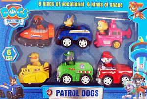 PAW PATROL HUND PATROL Spielfiguren 6x figuren in Autos Chase ROCKY SKY ZUMA MAR