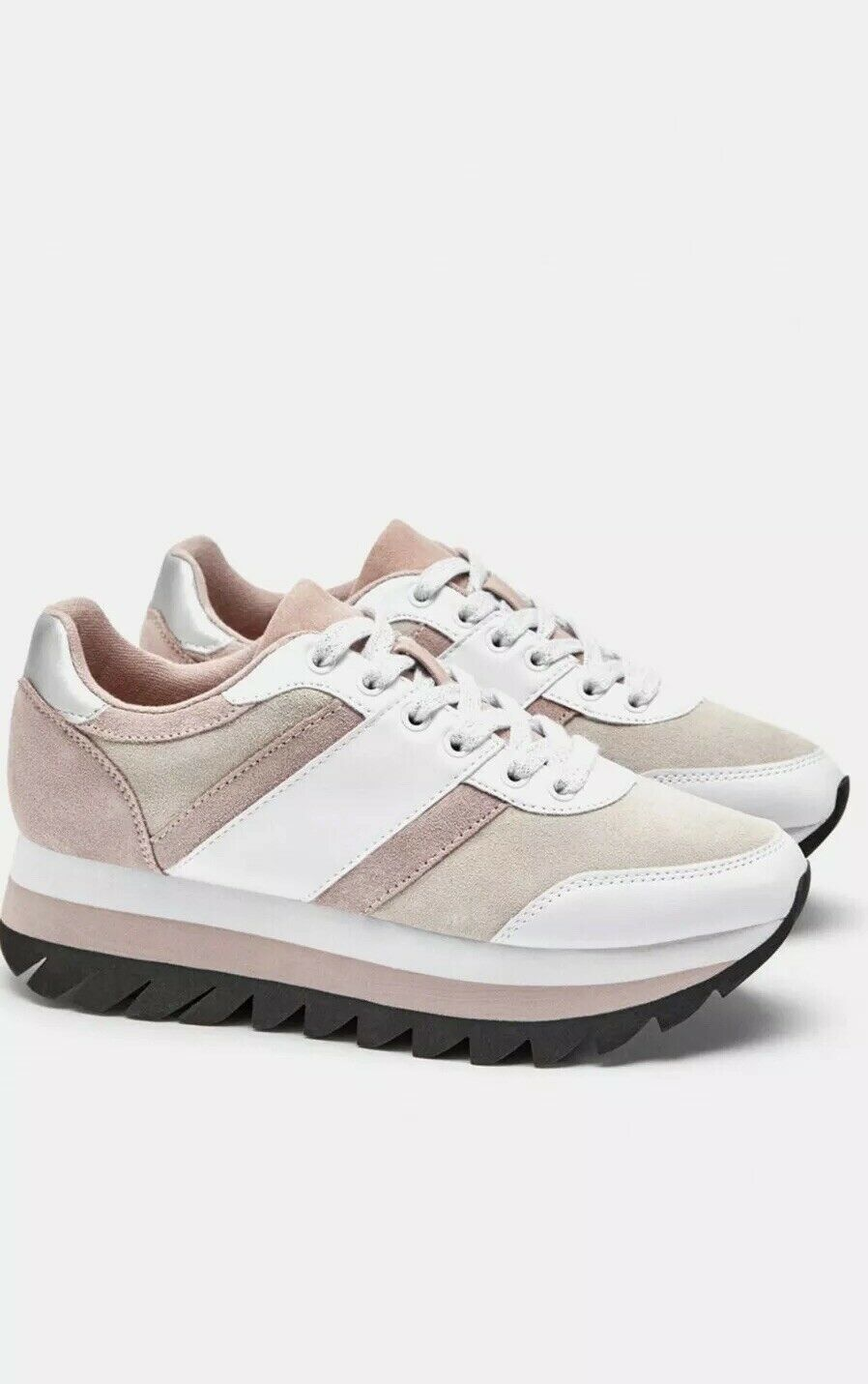 Zara Leather Pink   White Contrasting Lacecup Sneakers shoes  UK5 EU38 US7.5