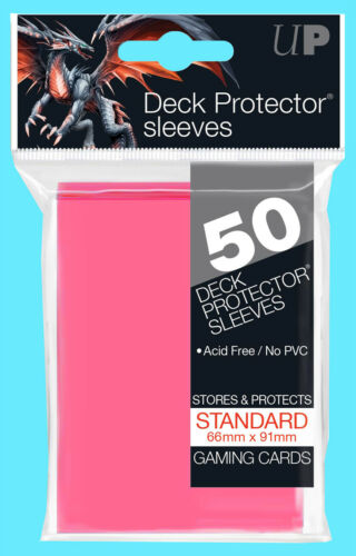 50 Ultra Pro DECK PROTECTORS BRIGHT PINK Card Sleeves Standard Size Pokemon ccg
