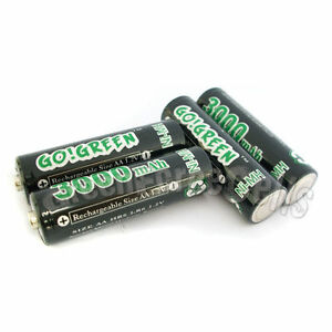 16-pcs-AA-LR6-2A-1-2V-3000mAh-Ni-MH-Rechargeable-Battery-Cell-RC-GO-Green-Black