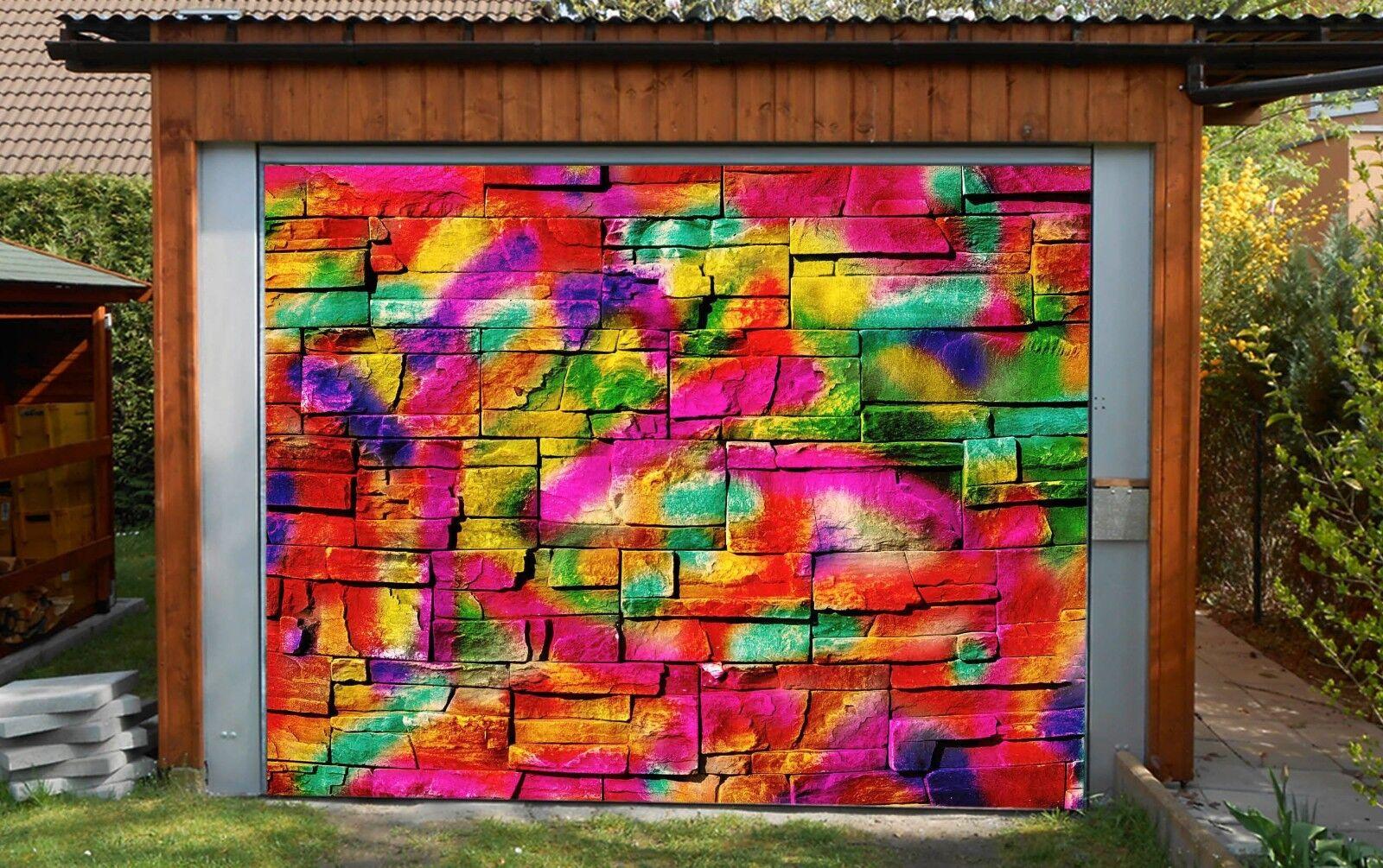 3D Rainbow Farbe Wall 4 Garage Door Murals Wall Print Wall AJ WALLPAPER UK Lemon