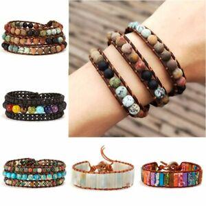 Handmade-7-Chakra-Natural-Stone-Beads-Bracelet-Bangle-Wrap-Bangle-Jewelry-Gift