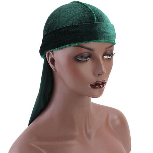 Unisex Velvet Silk Durag Headwear Men Women Breathable Turban Bandana Headband