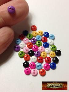 M00232 LEMON YELLOW MOREZMORE 50 Tiny 5 mm 5mm Miniature Buttons Mini Doll