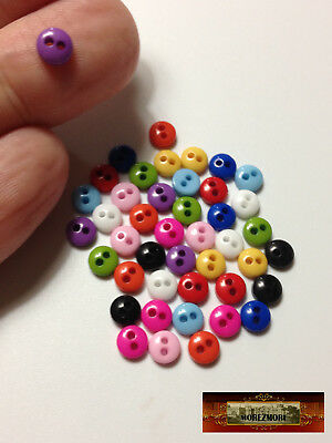 M00232 HOT PINK MOREZMORE 50 Tiny 5 mm 5mm Miniature Buttons Mini Doll Baby A60