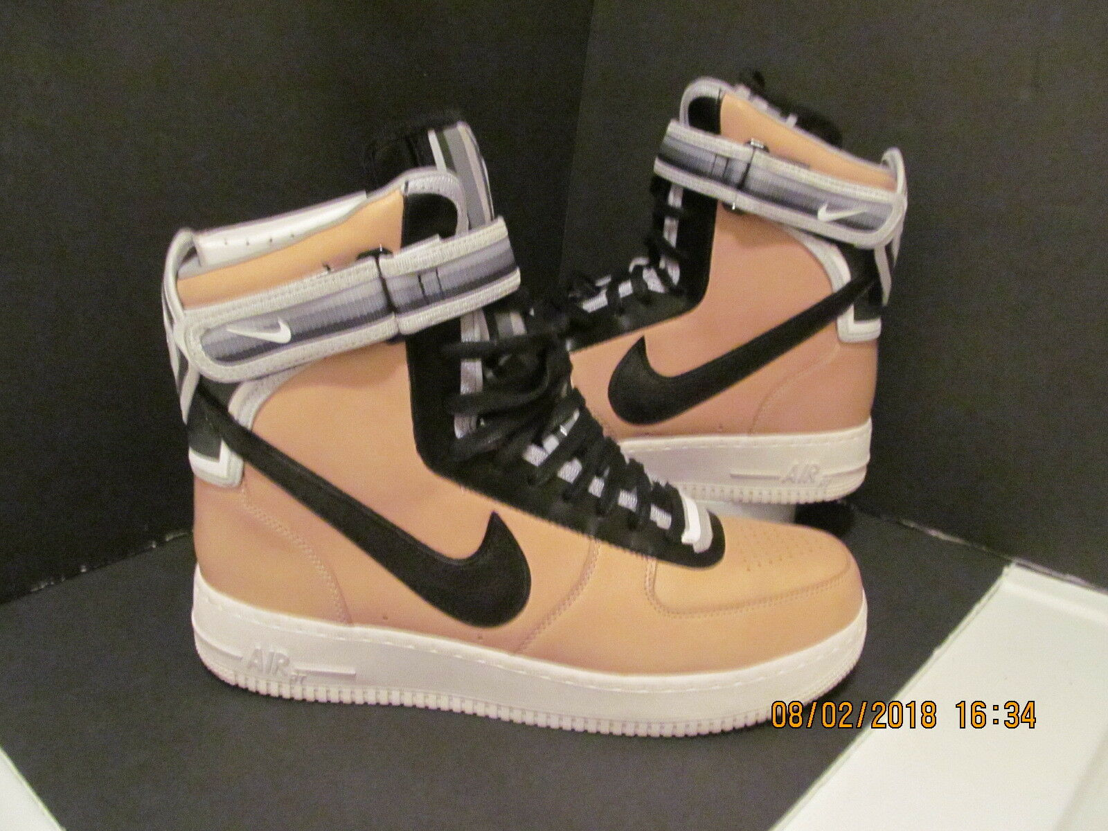 NDS W  BOX & BAG  NIKE AIR FORCE 1  HI SP RICCARDO TISCI  VACHETTA TAN BLK SZ 12