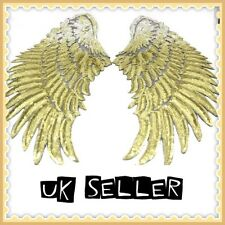 2 x BIG Gold Angels Wings Sequin 35cm Sew On Sequinned Sequin Cloth Patches