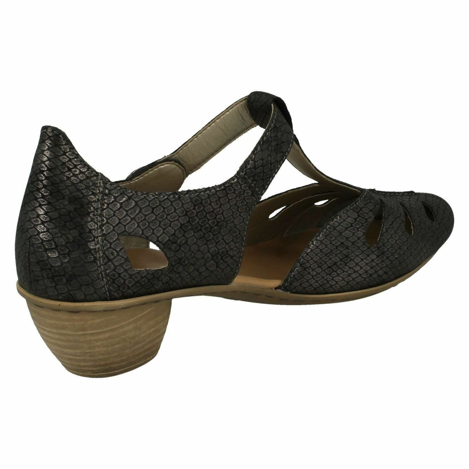 43750 LADIES RIEKER CLOSED TOE SMART FORMAL HEELED SHOES T BAR SUMMER COURT SHOES HEELED c1f456