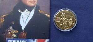 LONDON MINT 2010 MILITARY HEROES PROOF NELSON CROWN 24ct GOLD PLATE WITH COA