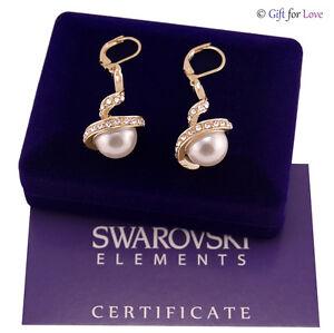 Pendientes Mujer Oro Swarovski Elements Original G4Love Perla Cristales Elegante