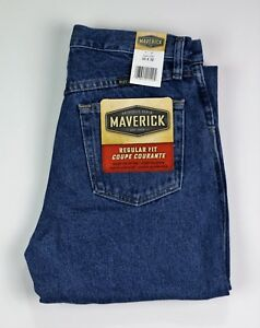 New-Maverick-Men-039-s-Regular-Fit-Jeans-Midstone-Wash-14-oz-Heavyweight-denim