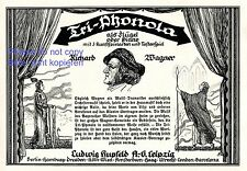 Tri Phonola Klavier Hupfeld Reklame von 1925 Richard Wagner Lohengrin Liszt +