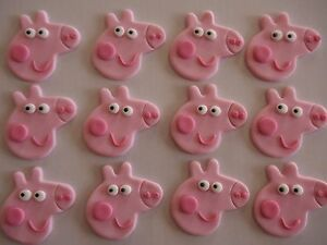 12 x EDIBLE PEPPA PIG FACES Cupcake FONDANT Toppers BIRTHDAY CAKE