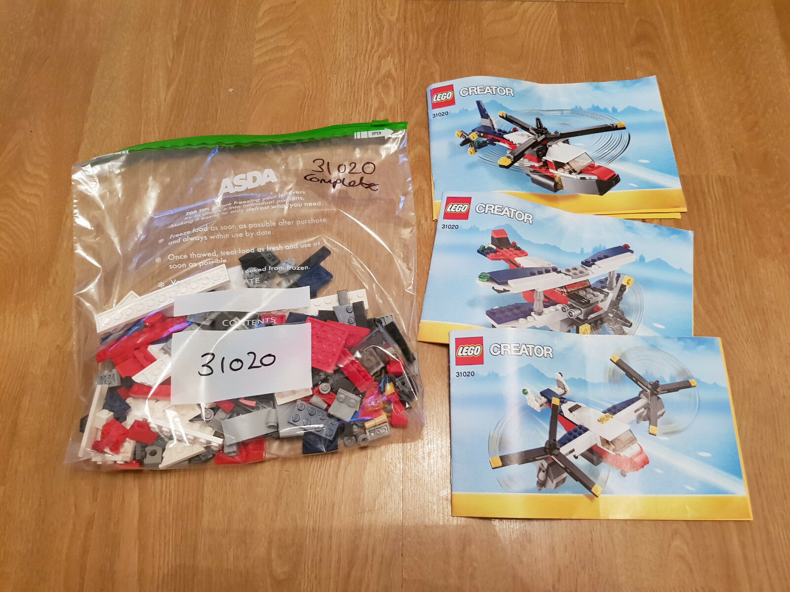 LEGO In Creator 31020 Twinblade Adventures Complete 3 In LEGO 1 Helicopter Biplane 7ddb60